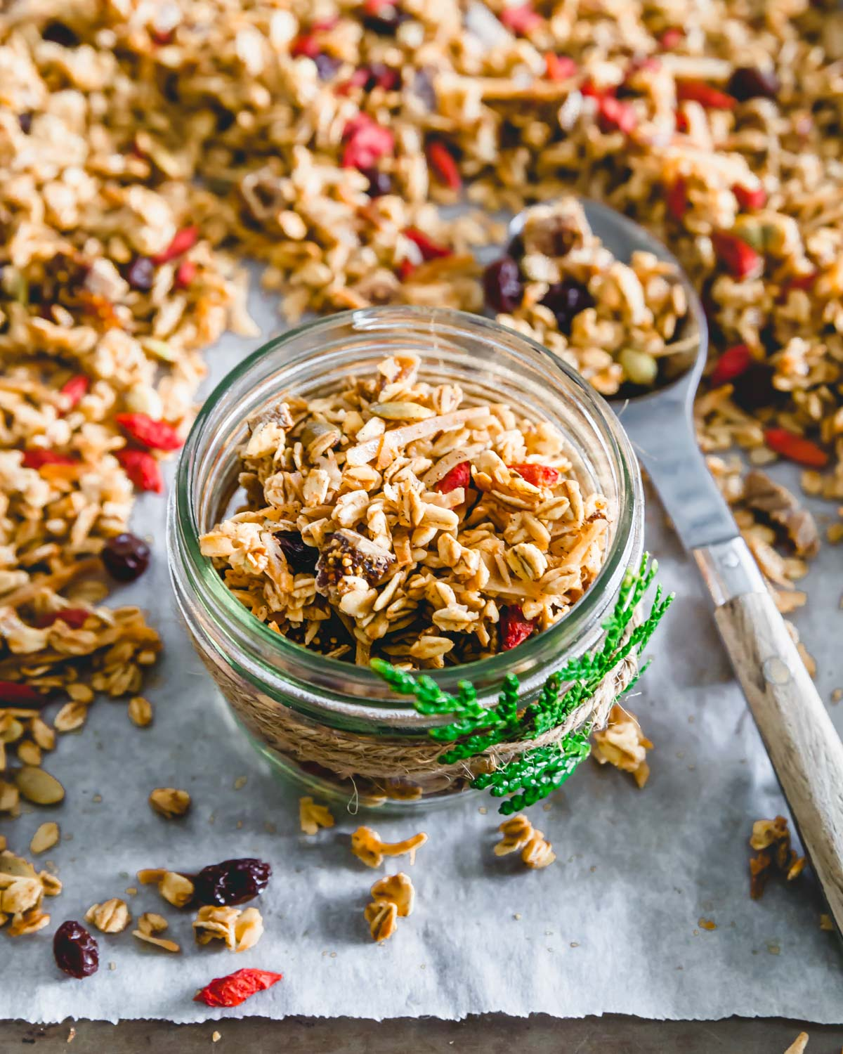 Homemade nut free granola is great for gifting since it's gluten-free, vegan and made without any nuts!
