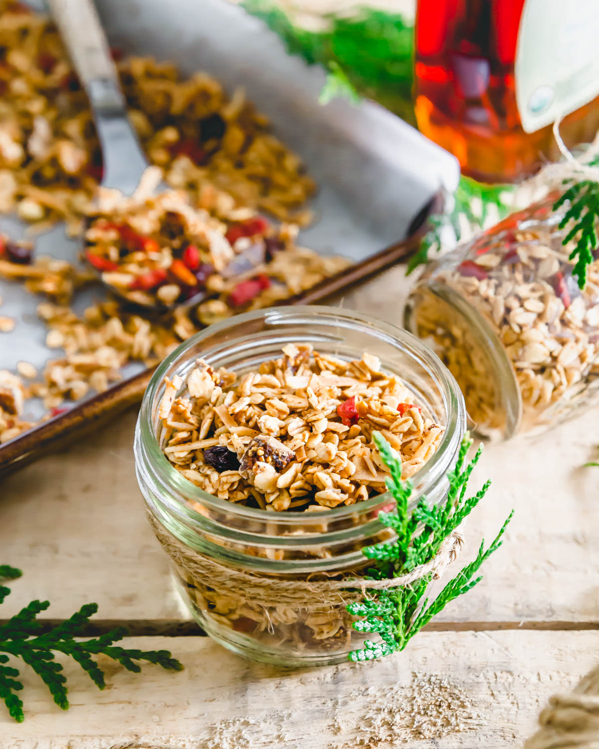 This easy homemade no nut granola is a great for sharing with friends and family as a holiday gift!