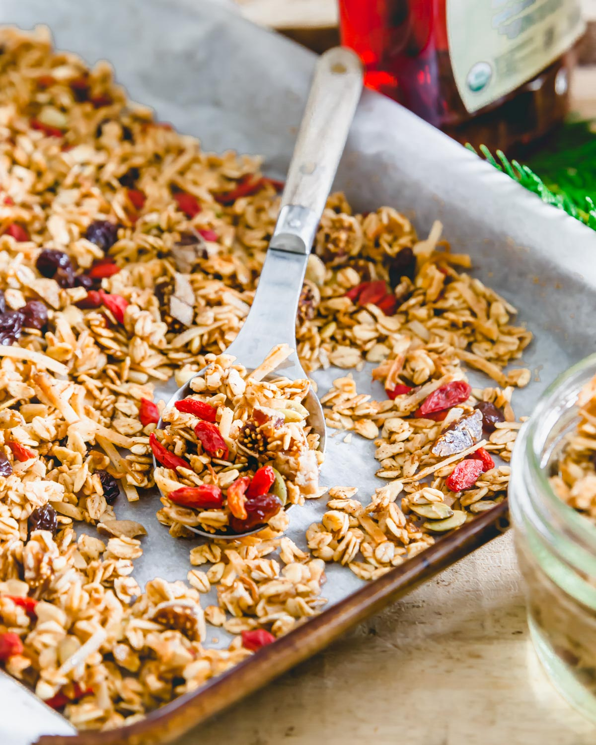 Gluten free oat based granola made with pepitas, sunflower seeds, buckwheat groats, goji berries, raisins and figs uses absolutely no nuts in the recipe so it's perfect for all diets!