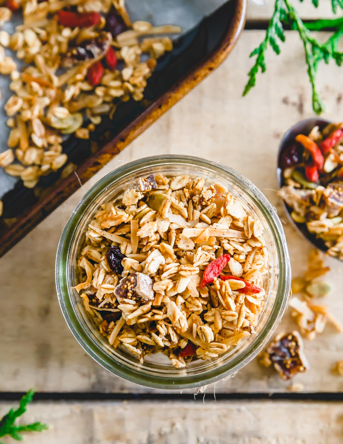 Tired of spending crazy money on expensive bags of store bought granola? Make this nut free granola recipe at home using your favorite dried fruit! It's gluten-free, vegan and nut-free so all dietary restrictions are accounted for.