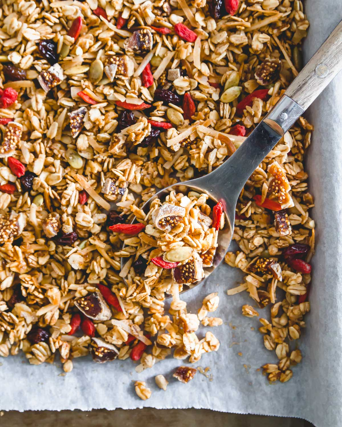 Gluten-free nut-free granola recipe baked with simple ingredients ready to be stored.