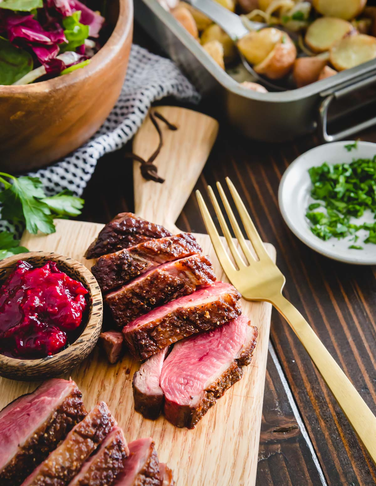 This duck breast recipe utilizes a quick pan sear for a crispy exterior skin and beautiful medium-rare interior.