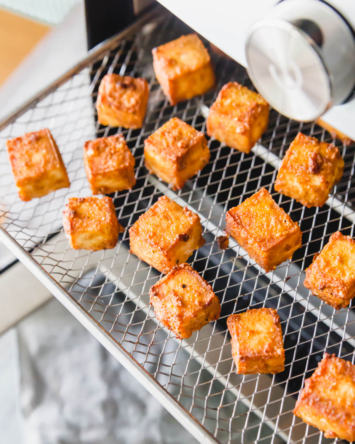 Extra crispy air fried tofu takes just 15 minutes to make.
