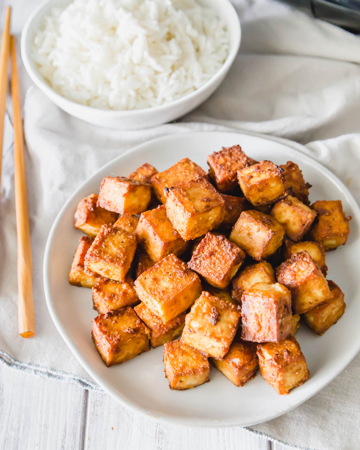 This air fryer tofu recipe results in the crispiest golden brown tofu in just 15 minutes!