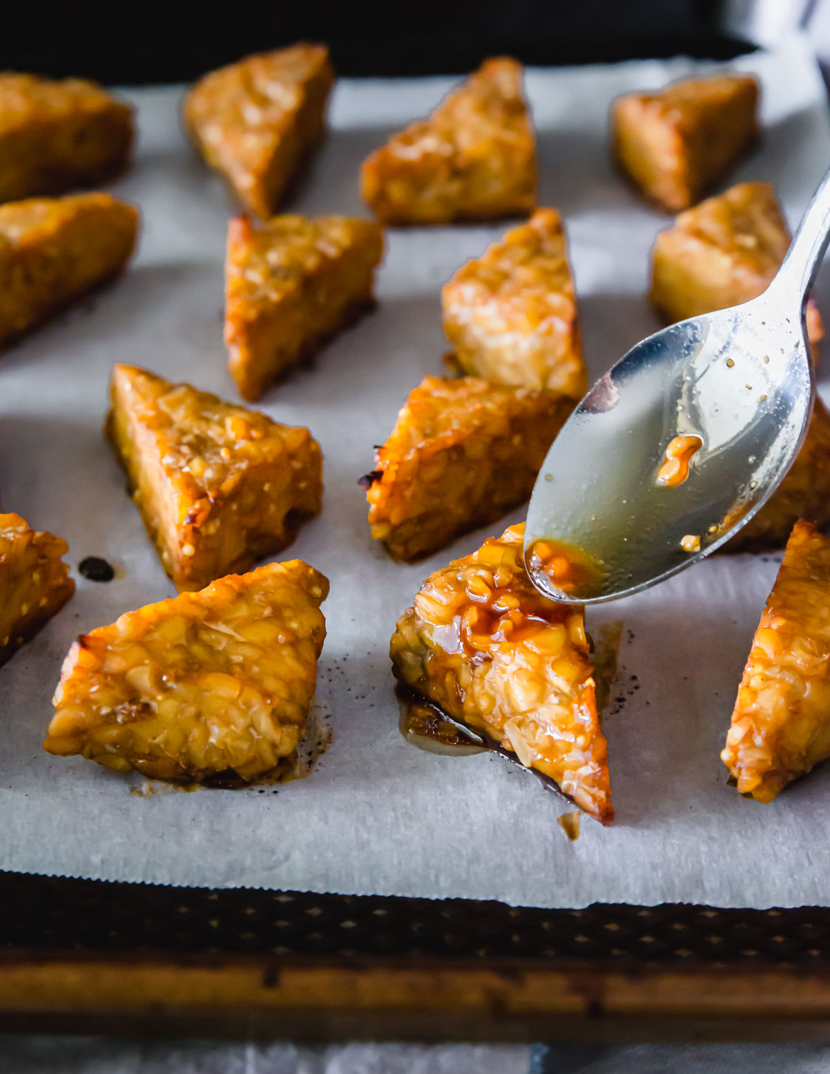 Simple oven baked crispy marinated tempeh.