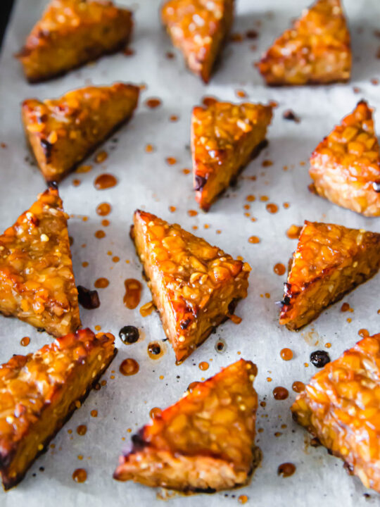 Oven baked marinated tempeh