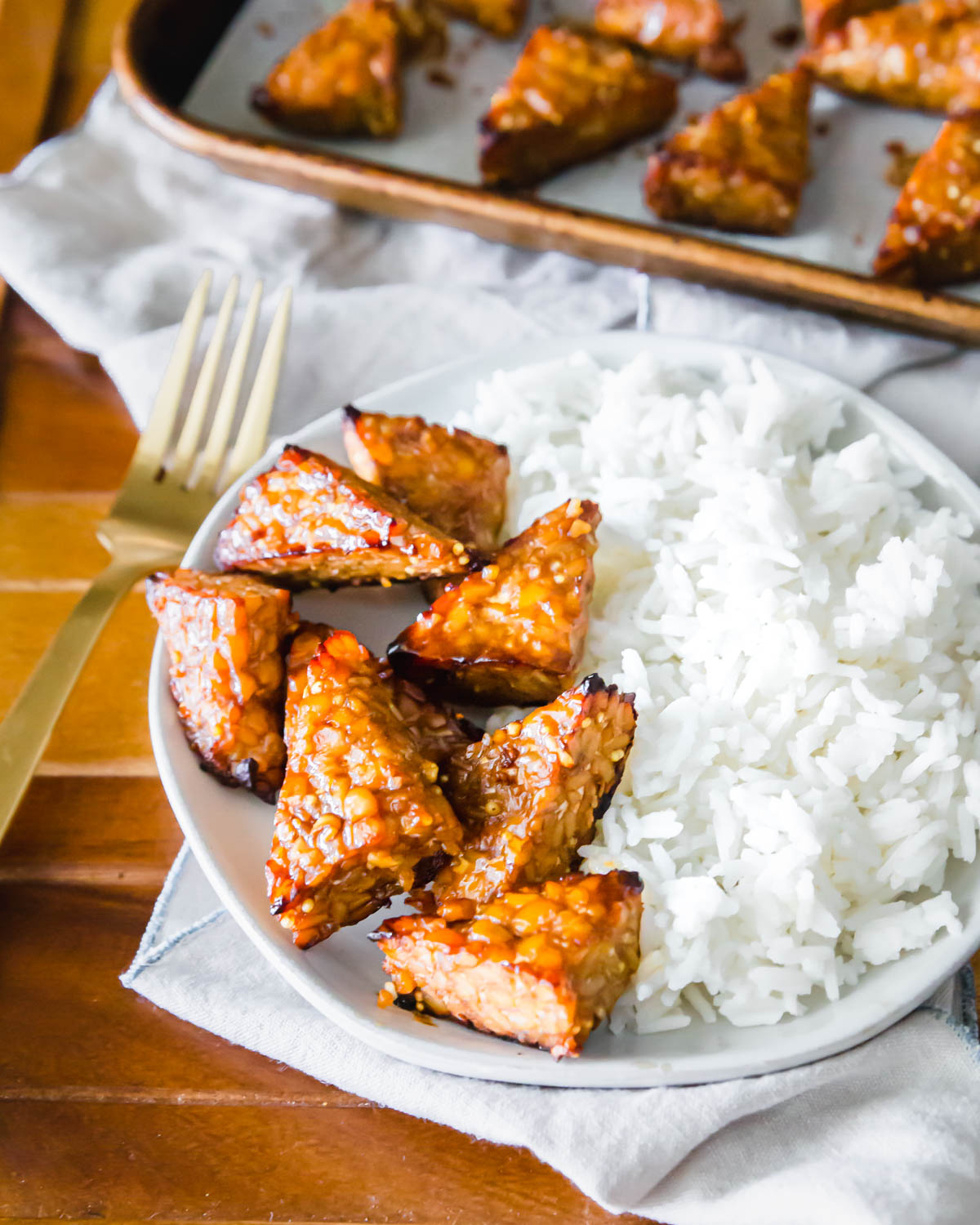 Easy baked tempeh with a simple 5 ingredient marinade.