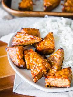 crispy golden marinated baked tempeh