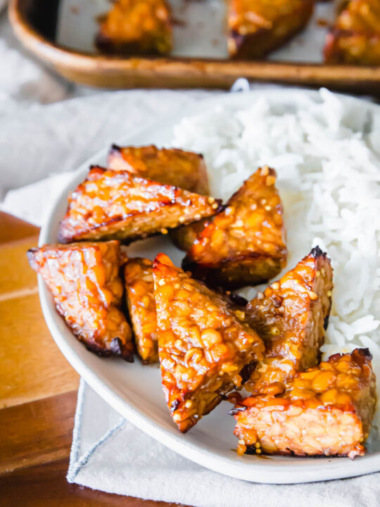 crispy golden marinated baked tempeh