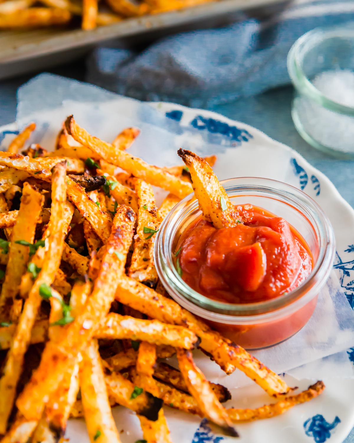 Simply seasoned and baked jicama fries make a great healthier alternative to regular fries when the craving strikes!