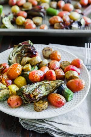 sheet pan sausage and vegetable dinner