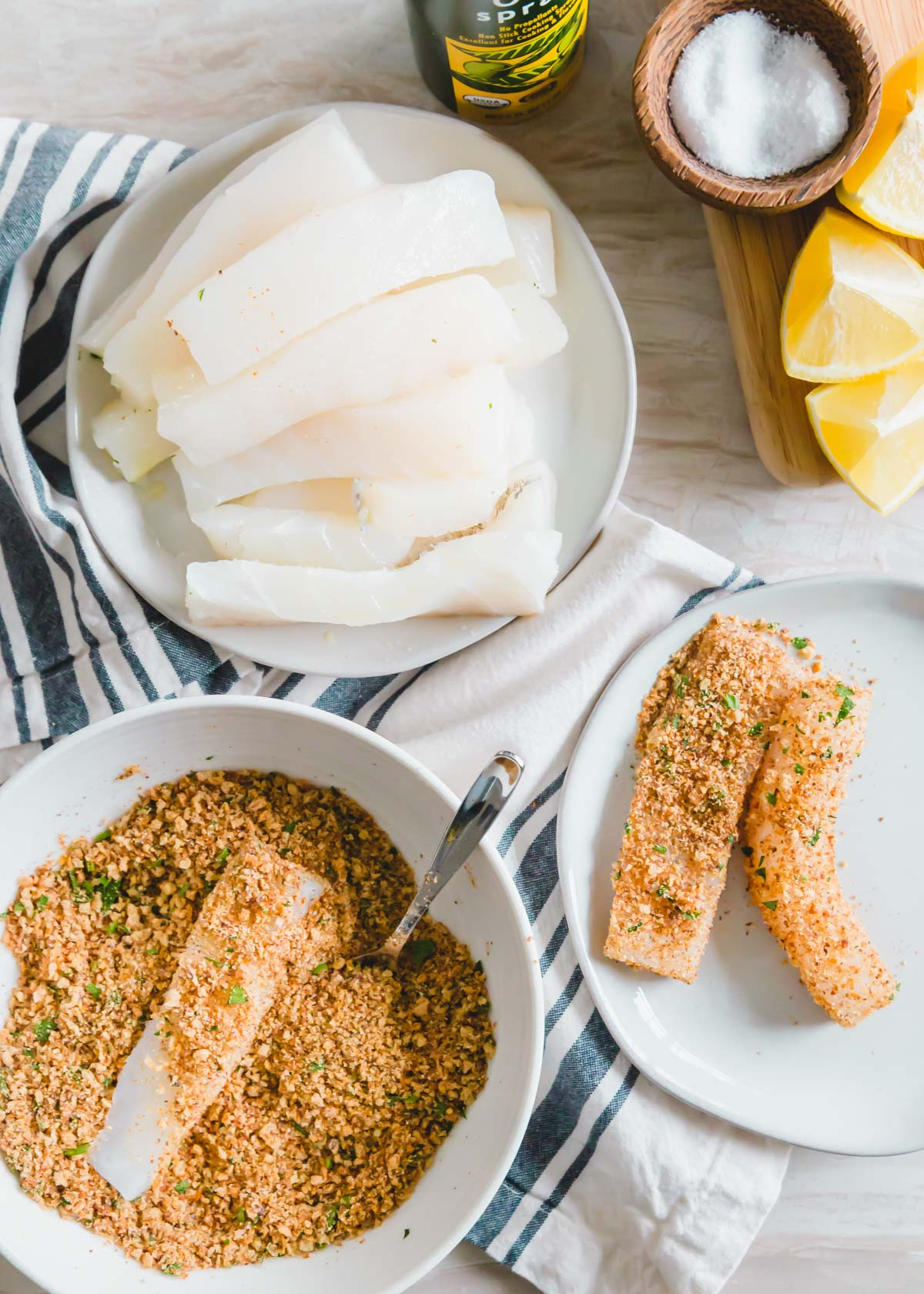 Fresh wild cod is coated in a breadcrumb mixture to make these air fryer fish sticks.
