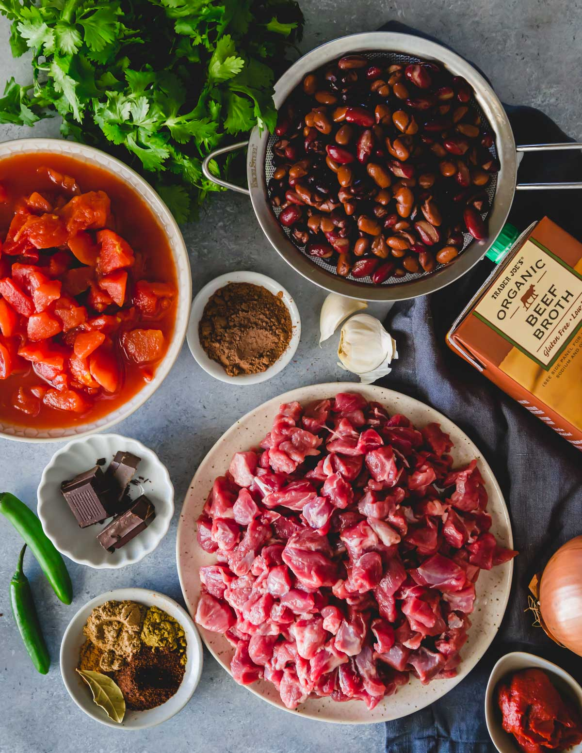 Ingredients to make chocolate lamb chili recipe.