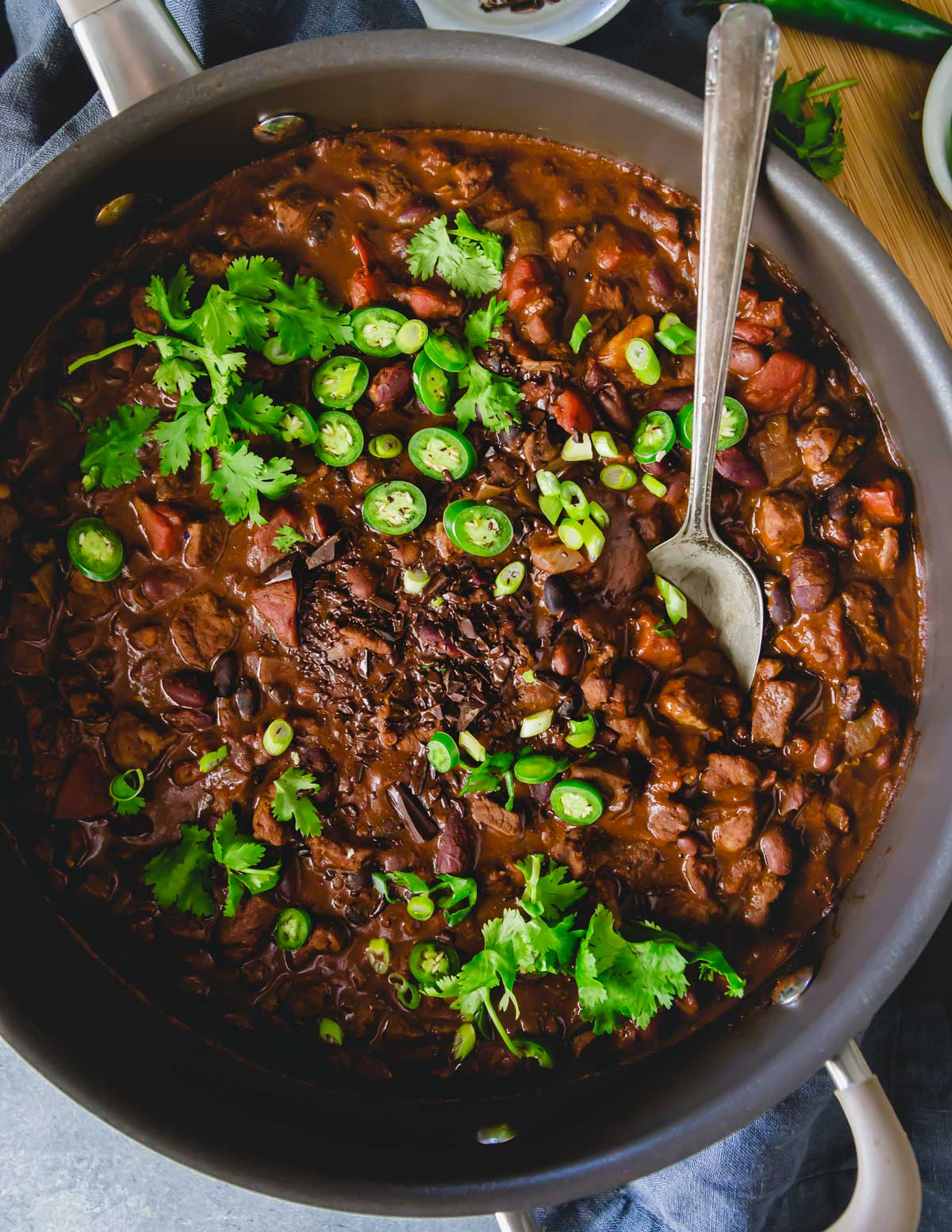 Lamb chili made with lamb stew meat, smoky spices, a mix of beans and bittersweet chocolate.