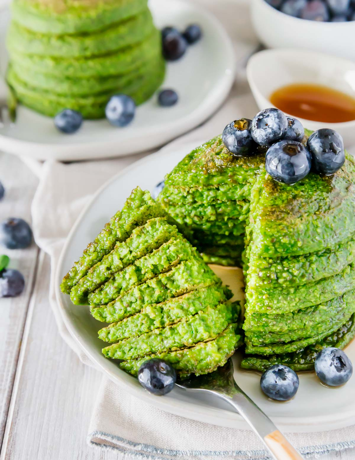 Moist and fluffy spinach pancakes are a healthy and fun breakfast option with this easy recipe.