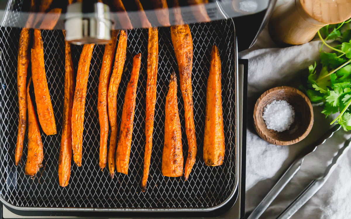 After just 20 minutes of roasting in the air fryer, these carrots are cooked to perfection.