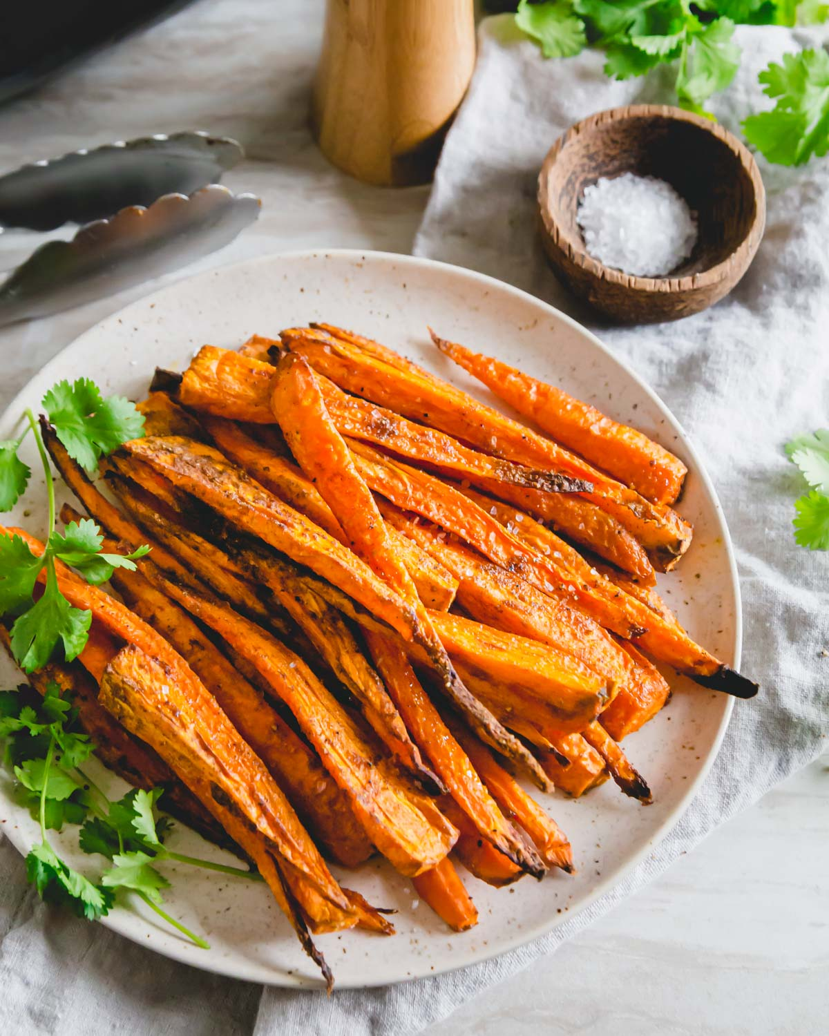 Simple air fryer savory roasted carrots complement almost any meal and are made in just 20 minutes!