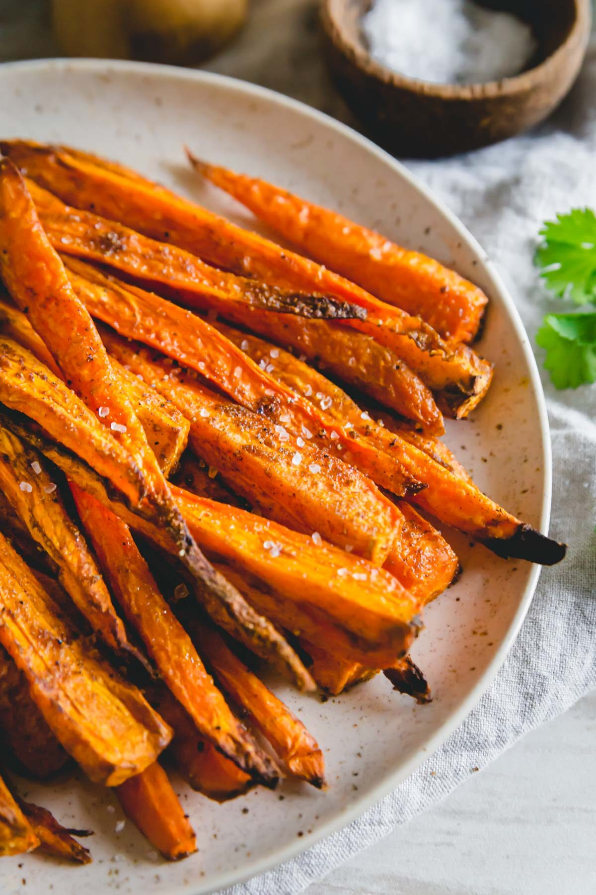 Consider these easy air fryer carrots roasted with simple savory spices for an easy spring side dish.