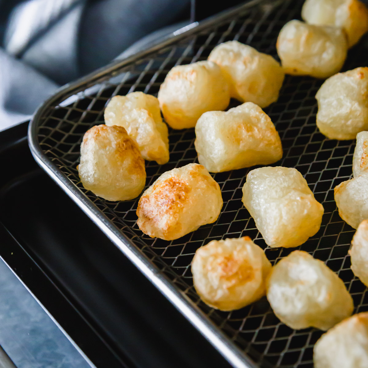 After 16-18 minutes in the air fryer cauliflower gnocchi is golden brown around the edges and perfectly crispy in texture to enjoy however you like.