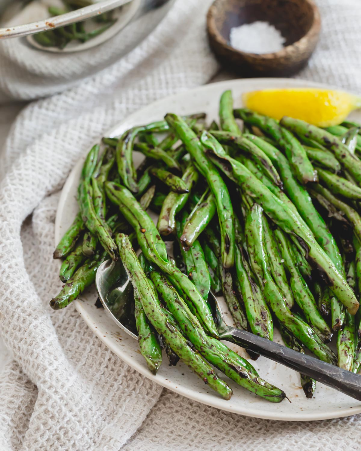 Grilled green bean side dish for easy summer meals.