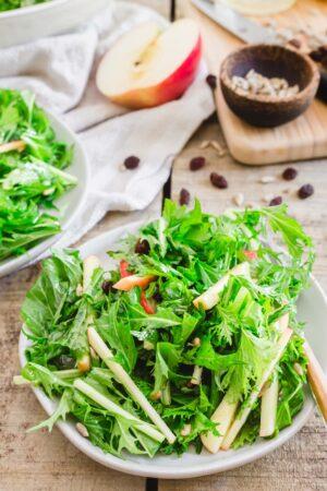 mizuna lettuce salad with apples and raisins