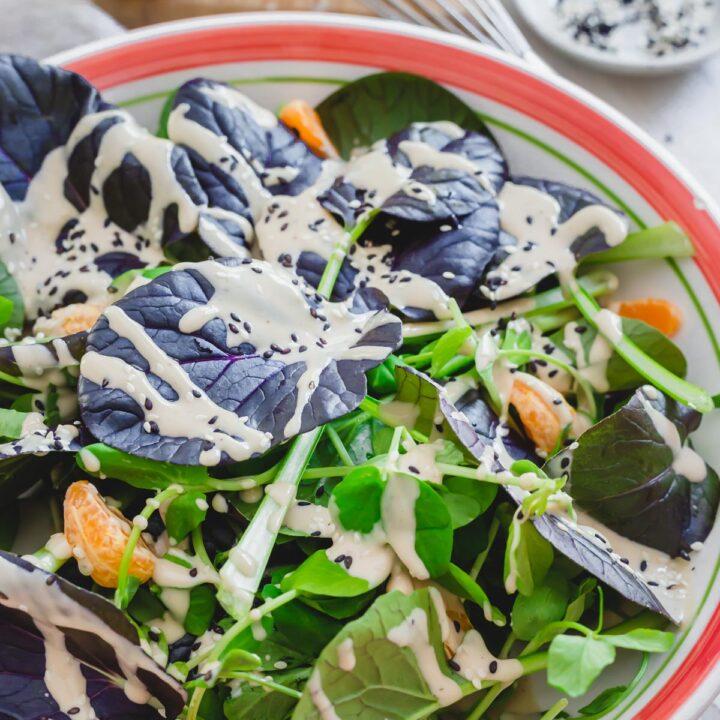 purple tatsoi salad recipe