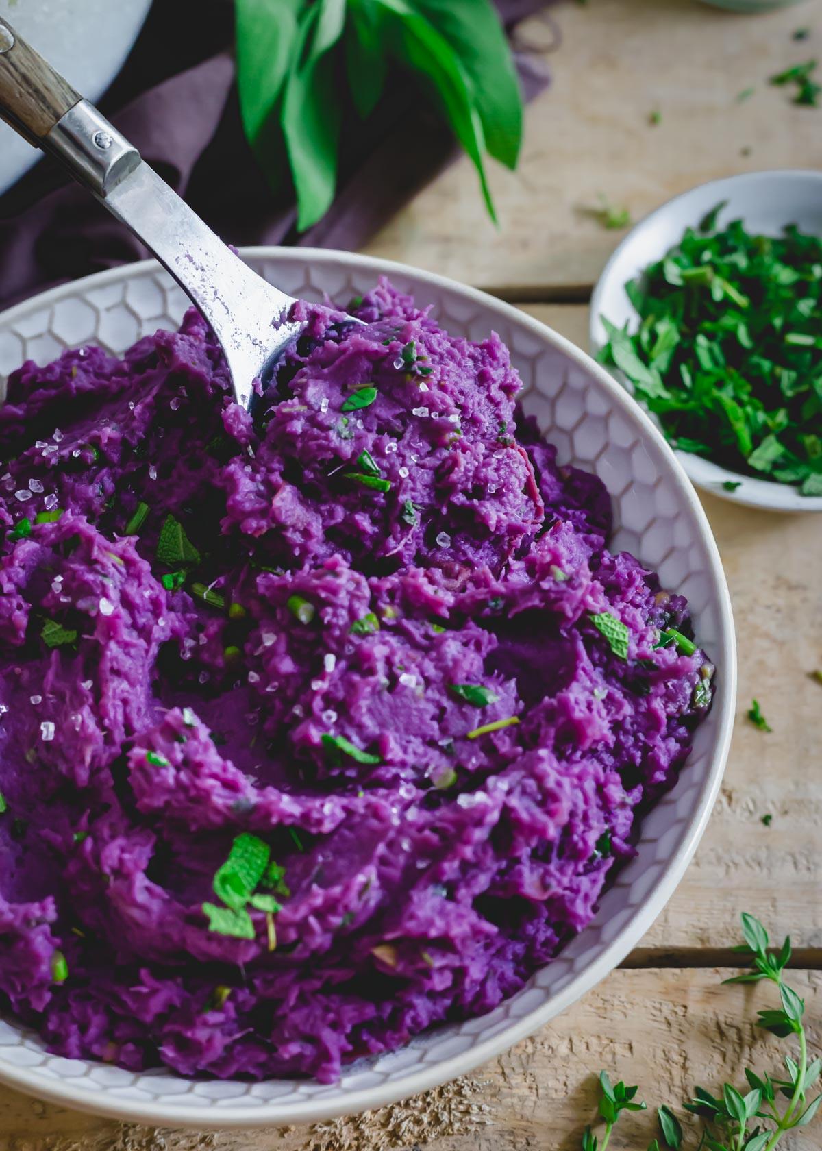 Spoonful of purple mashed sweet potatoes.