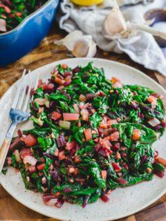 sautéed beet greens and Swiss chard
