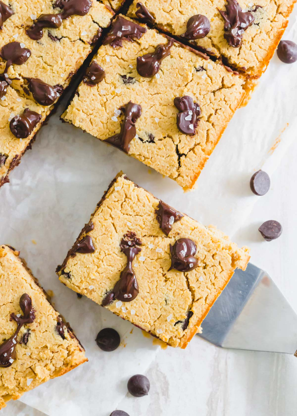 Rich and gooey chickpea blondie peanut butter bars with sea salt.