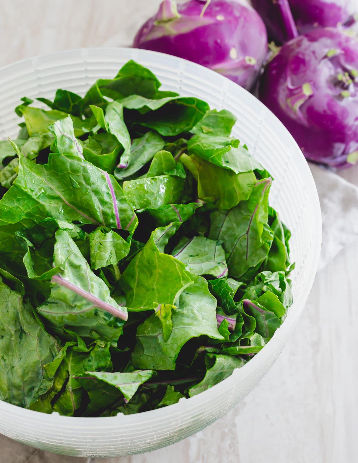 Washed and chopped kohlrabi greens.