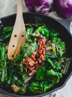 Sautéed kohlrabi greens with bacon