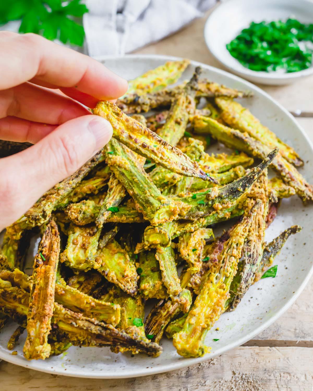 Crispy okra fries made in the air fryer with simple seasonings in just 20 minutes.