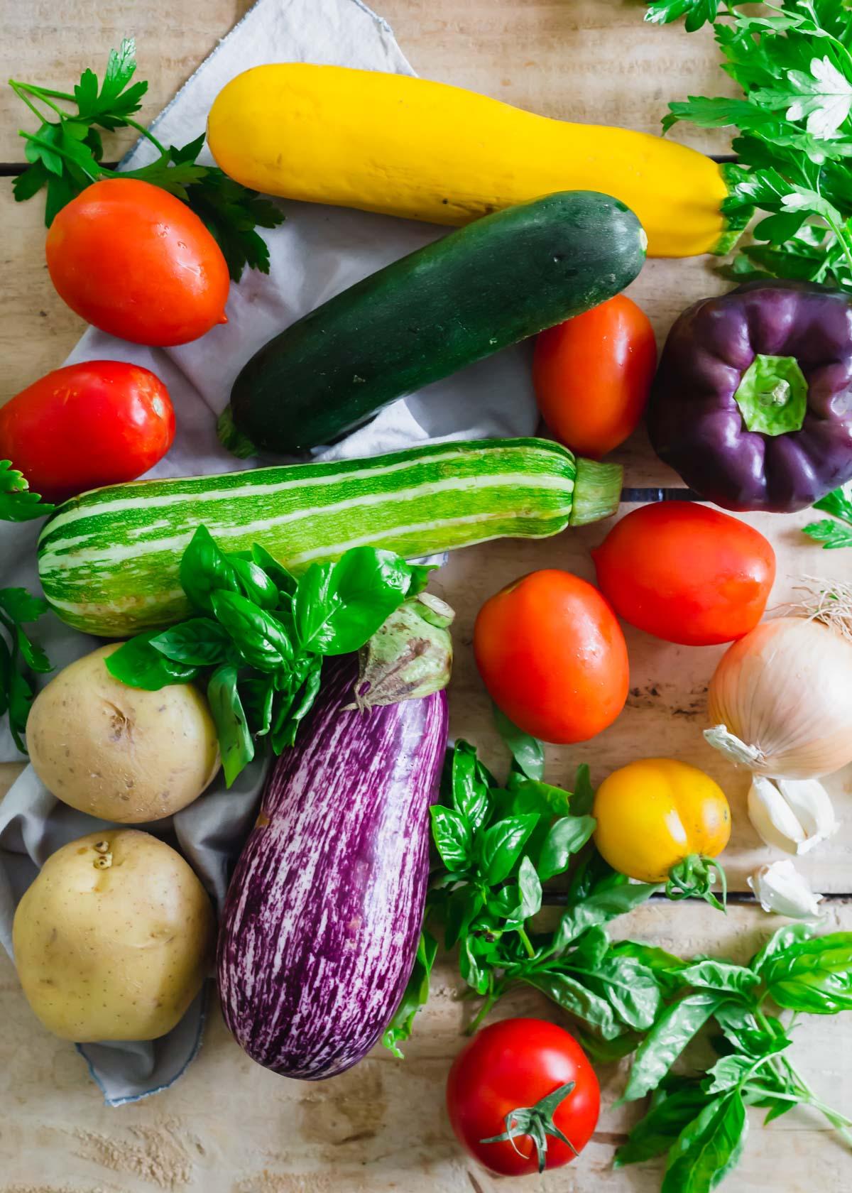 Summer vegetables to make Italian ciambotta (giambotta).