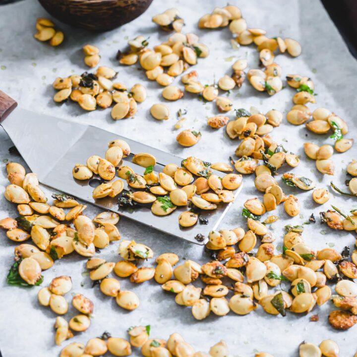 Roasted delicata squash seeds.