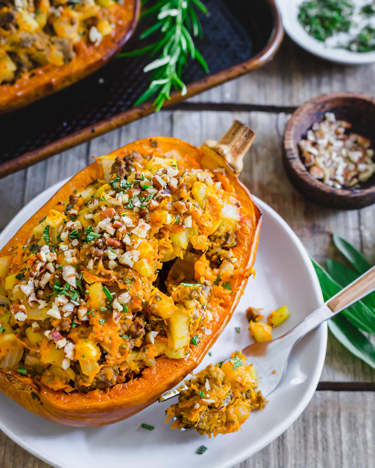 Petite sized honeynut squash are perfect for roasting and stuffing. Enjoy both methods with this fall inspired easy recipe.