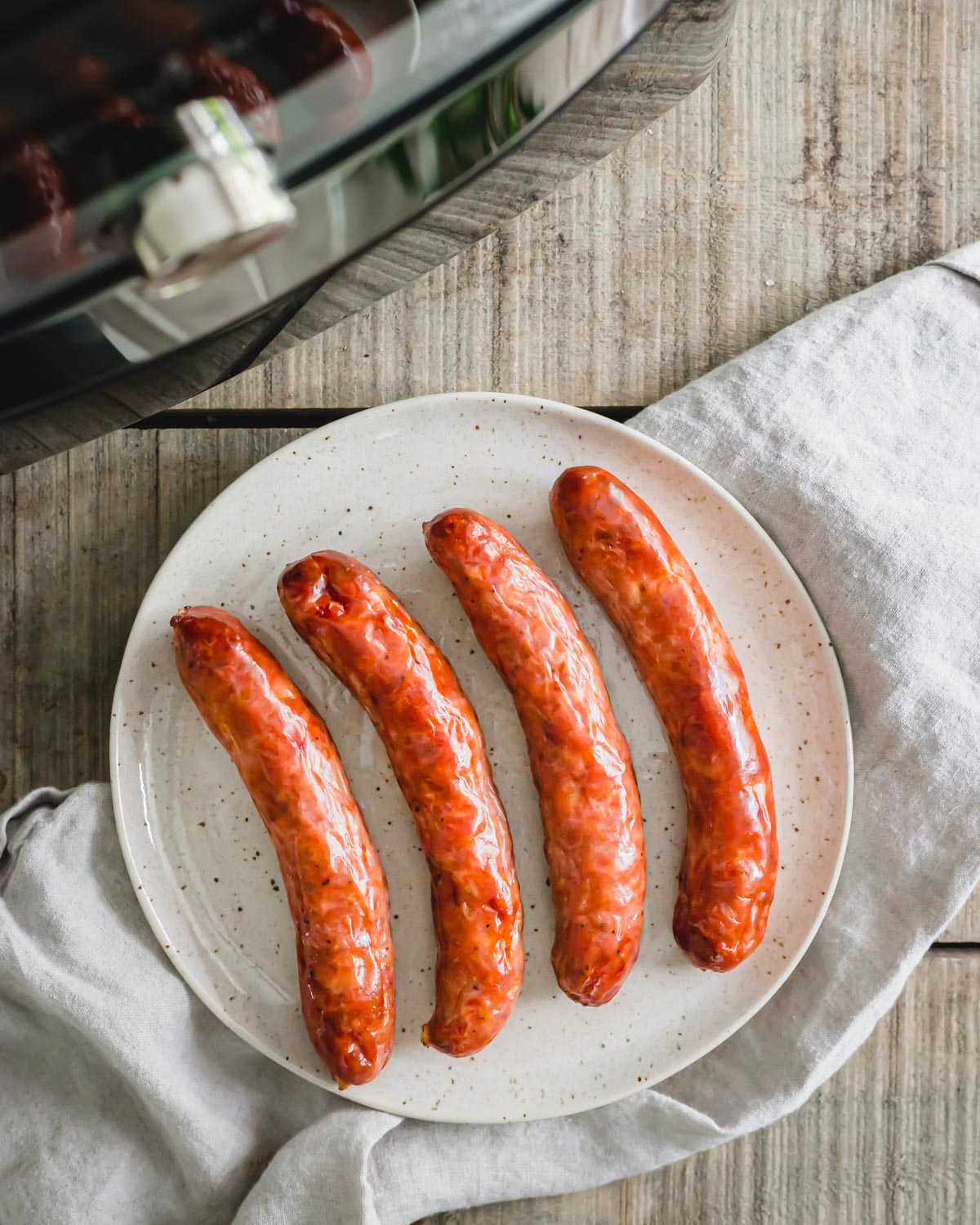 Perfectly golden brown, crispy Italian sausage cooked in the air fryer.