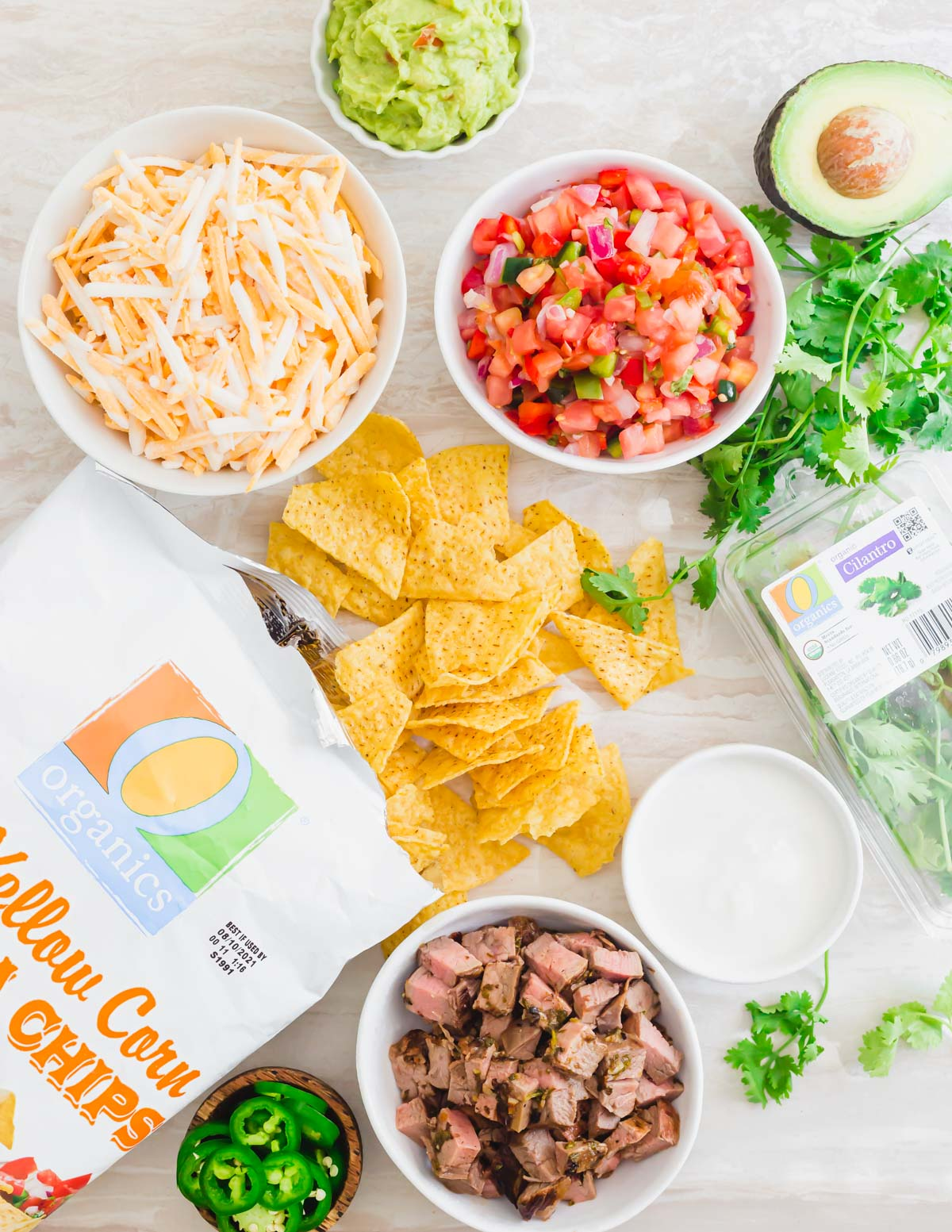 Ingredients to make carne asada nachos.