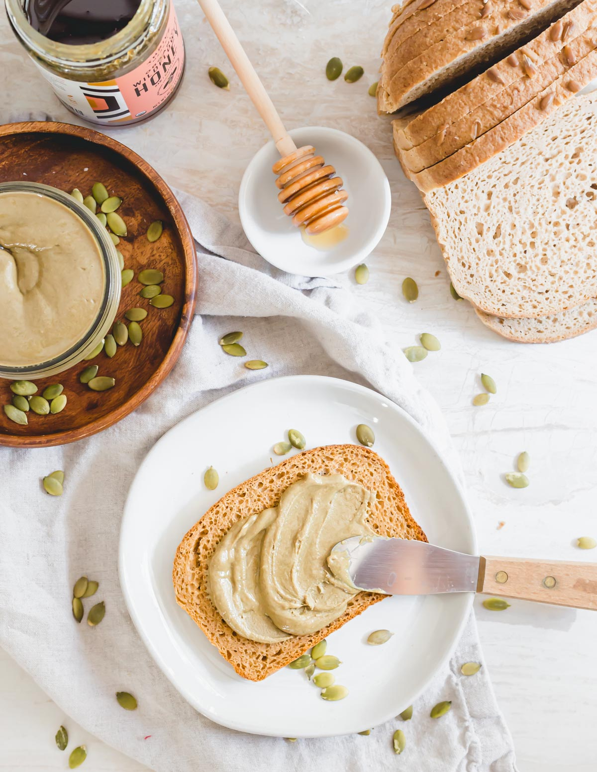 Vanilla honey pumpkin seed butter on toast.