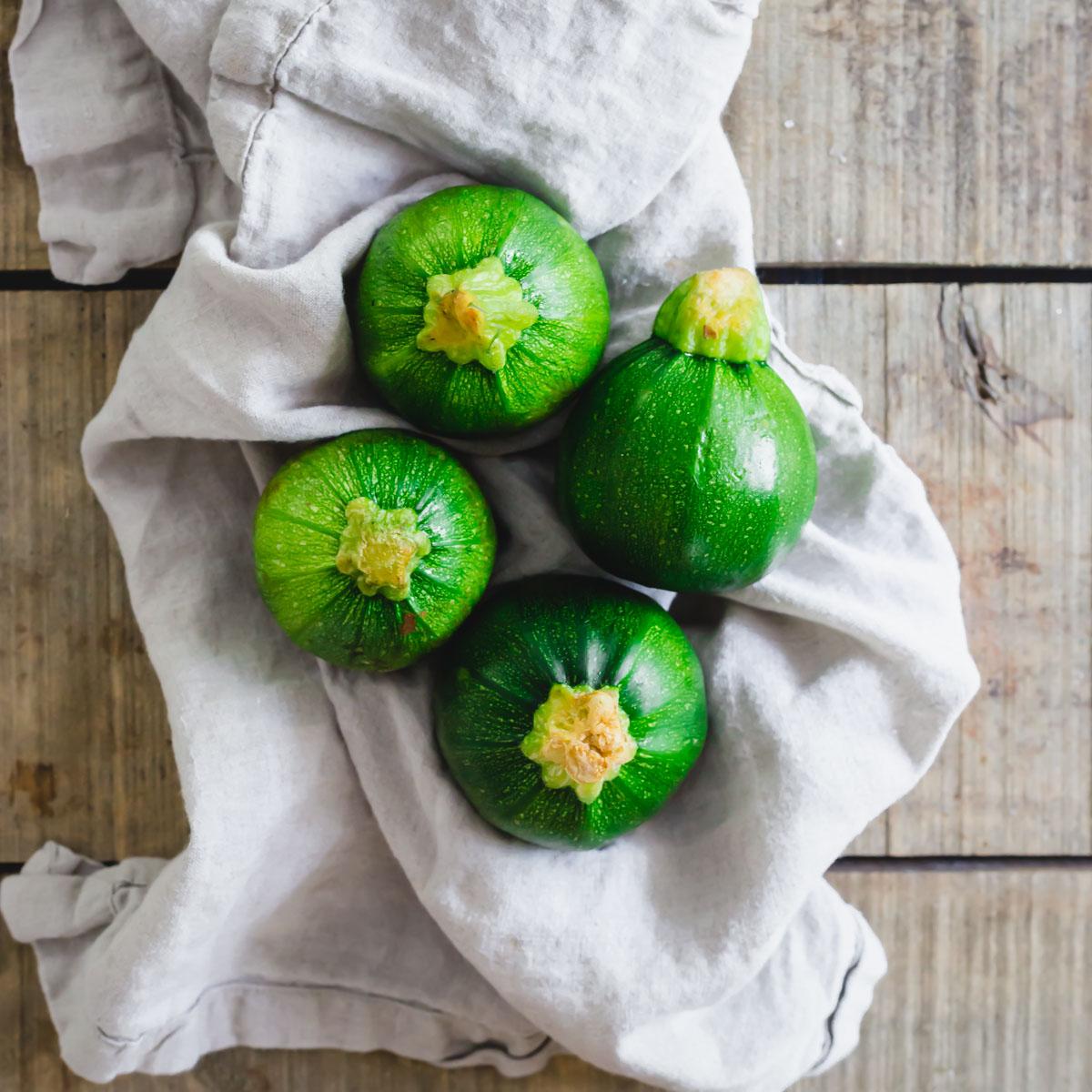 Fresh round zucchini also known as Round de Nice.